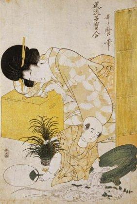 Kitagawa Utamaro - A Mother Dozing While Her Child