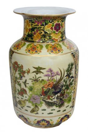 Chinese Porcelain Vase With Bird And Flower In Satsuma