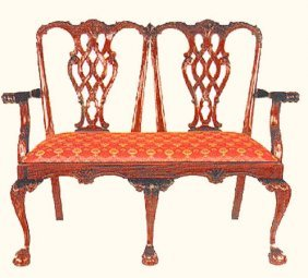 Chippendale Two Seater Wooden Bench