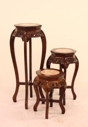 Oriental Hand-carved Floral Plant Stand W/ Marble Top