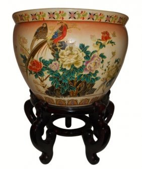 Japanese Satsuma Floral Fishbowl Planter