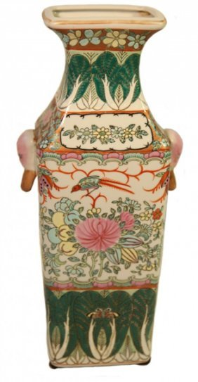 Rectangular Hand Painted Chinese Porcelain Vase