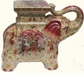 Asian Elephant Porcelain Stool
