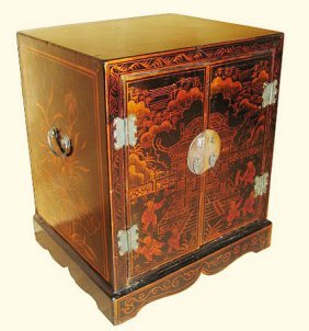 Faux Leather Elmwood Oriental End Table With Two Doors