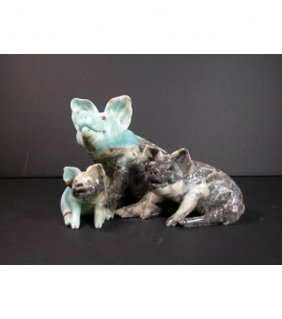 Carved Blue Quartzite Pig Family Sculpture