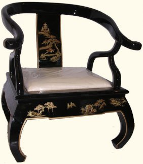Black Lacquer Oriental Arm Chair With Buddha Legs And
