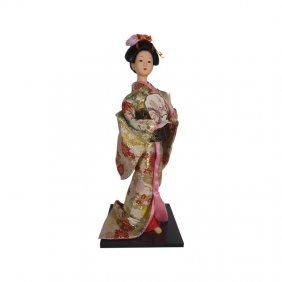 "Find 16"" H Oriental Geisha Doll In Ivory Kimono Dress"