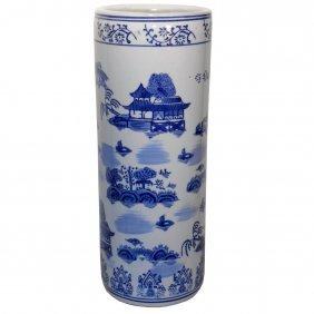 Blue And White Canton Landscape Flower Vase