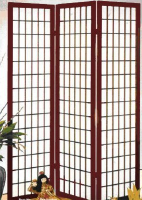 Cherry Stain Folding Screen Grid Design