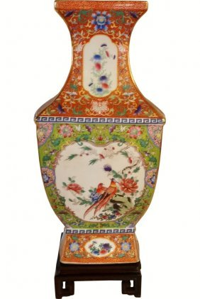 Hand Painted Rectangular Chinese Porcelain Vase With