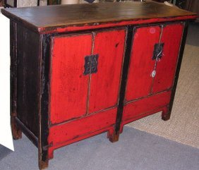 Chinese Antque Four Red Door Cabinet And Original Color