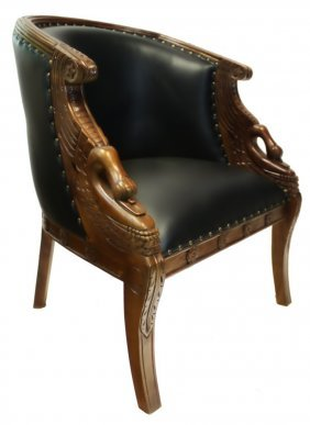Hand Carved Mahogany Swan Tub Chair With Black Faux