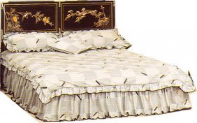 Queen Size Oriental Headboard With Hand Painted Floral