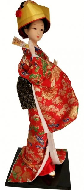 Oriental Silk Doll In Orange Embroidered Kimono