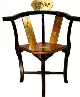 Gold Leaf Oriental Lacquer Corner Chair