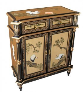 "32""h Empire Style Oriental Cabinet In Black Lacquer"