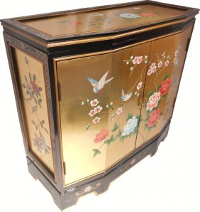 Slant Front Gold Leaf Hand Painted Bird And Flower Two