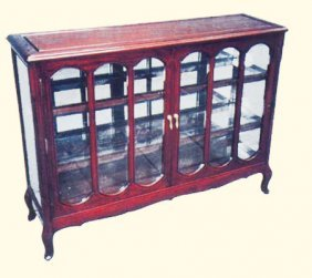 """42"""" Rosewood Glass Display Cabinet With French Leg"""