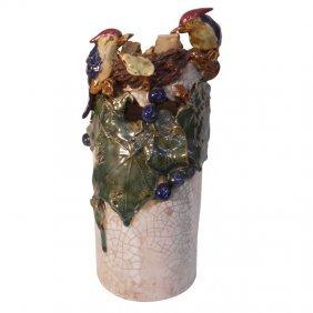 Asian Carved Bird Nest Vase