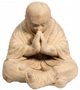 """17.5""""h Oriental Praying Stone Monk Statue"""