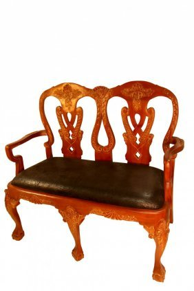 Queen Anne Bench Solid Mahogony