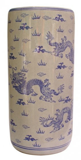 Oriental Porcelain Umbrella Stand With Blue And White