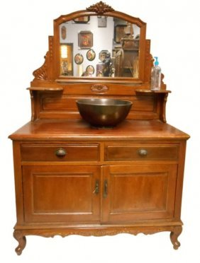 Chinese Antique Vanity Cabinet With Mirror
