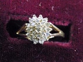 14k Yellow Gold Diamond Cluster Ring 14k Yellow Gold