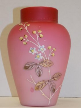 Victorian Burmese Cherry Blossoms Glass Vase Victorian