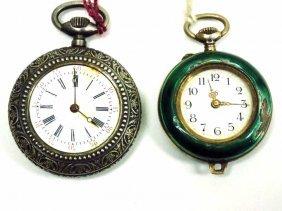 2 Antique Silver Ladies Pocket Watches 2 Antique Silver