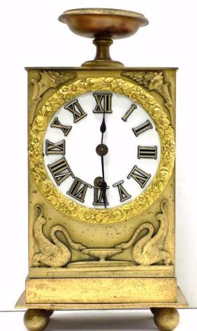 French Empire Mercury Bronze Clock 19th Century French
