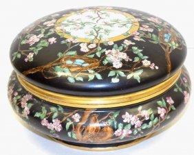 French Famille Noir Painted Porcelain Bowl Antique A.k.