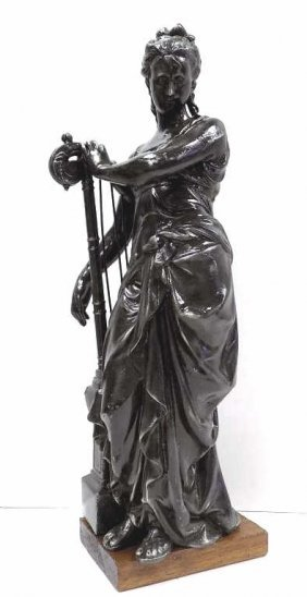 Victorian Maiden With Harp Statue 19th Century