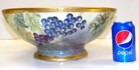 Monumental Limoges Fruit Painted Bowl 19th Century