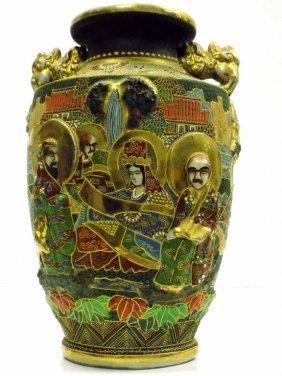 Japanese Immortals Relief Signed Satsuma Vase Antique