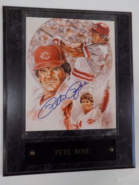 All Star Pete Rose Autographed Print World Famous