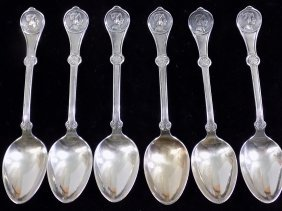 1868 Reed & Barton Medallion Head Silver Spoons