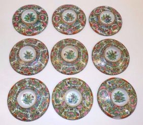 Chinese Ching Qing Rose Medallion Bowl Covers
