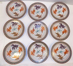 Ching Chinese Porcelain Fish Plates