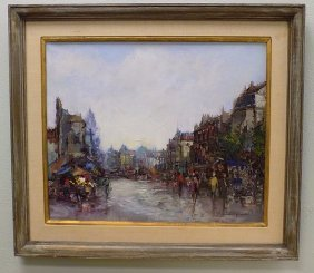 Impressionist Village Signed Painting