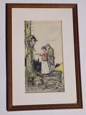 E. Rigling - German Couple Watercolor Painting