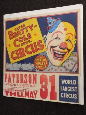 Clyde Beatty Cole Bros Circus Poster