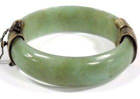 Chinese Jade & Brass Cuff Bracelet