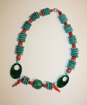 CREATION JPB - Collier De Pastilles Turquoise, Perl