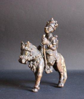 Cavalier Africain En Bronze H : 20 Cm