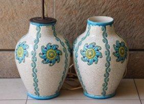 Boch Keramis Paire De Vases Monts En Lampe En Faience