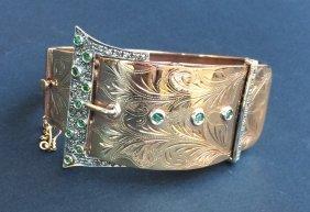 Bracelet Ceinture En Or Jaune 9k Orné D'émeraudes Et
