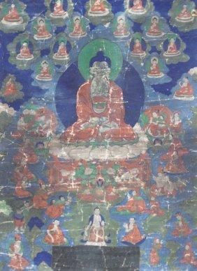 Tibet - Début Du Xix E Siècle Tangkha Représentant