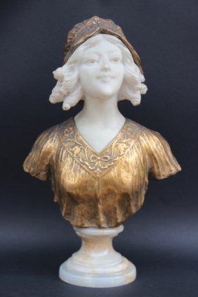 Raphaël Febrari (?-1928) Buste De Femme En Bronze Doré
