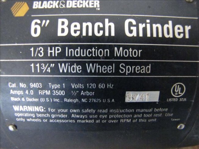 115 Black And Decker 6 Quot Dual Wheel Bench Grinder Lot 115